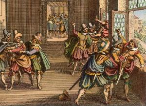 illustration of defenestration of prague